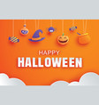 happy halloween with paper art element design for vector image
