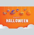 happy halloween with paper art element design vector image