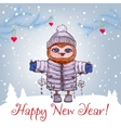 Happy New Year greeting card with cute owl in vector image