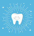 healthy tooth icon with smiling face round line vector image vector image
