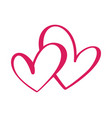 heart two love sign icon on white background vector image vector image