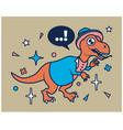 hipster dino cartoon t shirt design vector image vector image