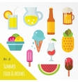 icon set summer food and drinks vector image