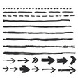 ink brush strokes set paint arrow spots vector image vector image