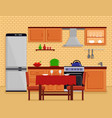 kitchen interior with table desk vector image vector image