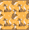 lovely seamless pattern with cute foxes and leaves vector image vector image