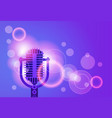 microphone music banner colorful pop art style vector image vector image