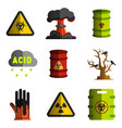 nuclear and biological weapons icon set of vector image