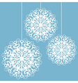postcard with three snowflakes on a strings vector image vector image