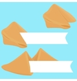 realistic cracked fortune cookie with paper vector image vector image