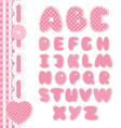 Retro scrapbook font pink color vector image