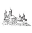 romanesque church line drawing of a large church vector image vector image