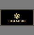 sd hexagon logo design inspiration vector image vector image
