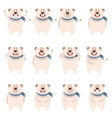 Set of flat polar bear icons vector image vector image