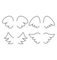set with angel or bird wing icon isolated on white vector image