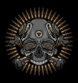 skull head and bullets vector image vector image
