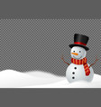 snowman wearing hat and scarf smile in snowy
