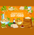 soy food or soybean products soya tofu and milk vector image vector image