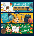 student supplies school bus and education items vector image