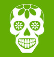 sugar skull flowers on the skull icon green vector image vector image