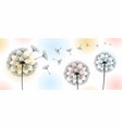 three dandelions blowing in the wind vector image