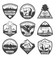 vintage monochrome national park labels set vector image