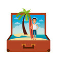 vintage suitcase with tourist man surfing board vector image