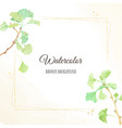 watercolor hand drawn ginkgo branch frame square vector image