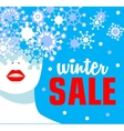 Winter sale Banner Fashion girl with snowflakes vector image vector image