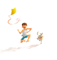 guy with the dog running along the beach vector image