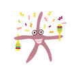 ridiculous hand-drawn starfish with maracas vector image