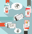 Social Media Symbols with Cell Phones in Hands vector image