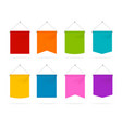realistic 3d detailed color pennant template icons vector image
