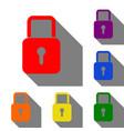 lock sign set of red orange yellow vector image