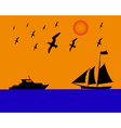 sailing boat albatrosses to orange blue background vector image