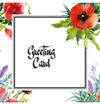 Wedding or birthday card Floral frame Watercolor vector image