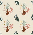 abstract boho plants seamless pattern neutral vector image