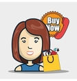 avatar woman and buy now stamp vector image