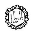 beer bottle cap doodle style sketch vector image vector image