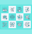 business and finance flat icons set vector image vector image