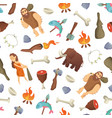 cartoon cavemen background or pattern vector image vector image