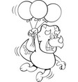 cartoon dinosaur floating while holding balloons vector image vector image