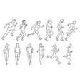 cartoon people running a marathon - isolated set vector image vector image