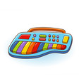 children yellow toy electric piano with vector image