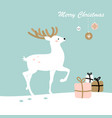 christmas deer in snow with gifts vector image