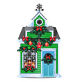 christmas gift in form rustic wooden house vector image vector image