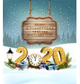 christmas holiday background with 2020 with vector image