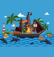 christmas monsters on a pirate ship vector image vector image