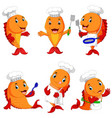 collection of cute fish chef cartoon vector image