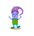 cute boy troll with purpel hair and blue skin vector image